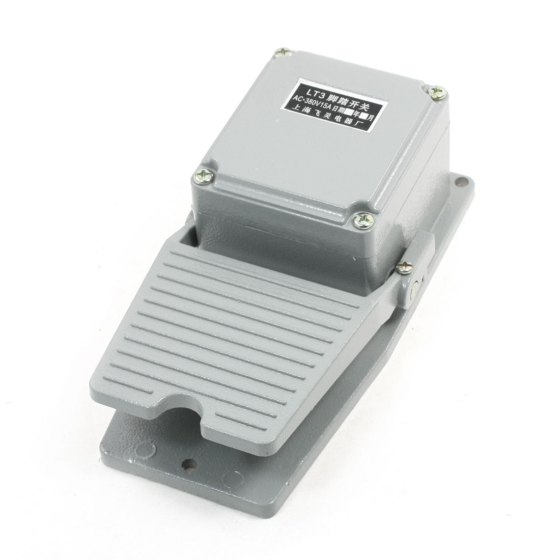 Nonslip Momentary Action Foot Pedal Switch Gray 380V AC 15A 1NO 1NC