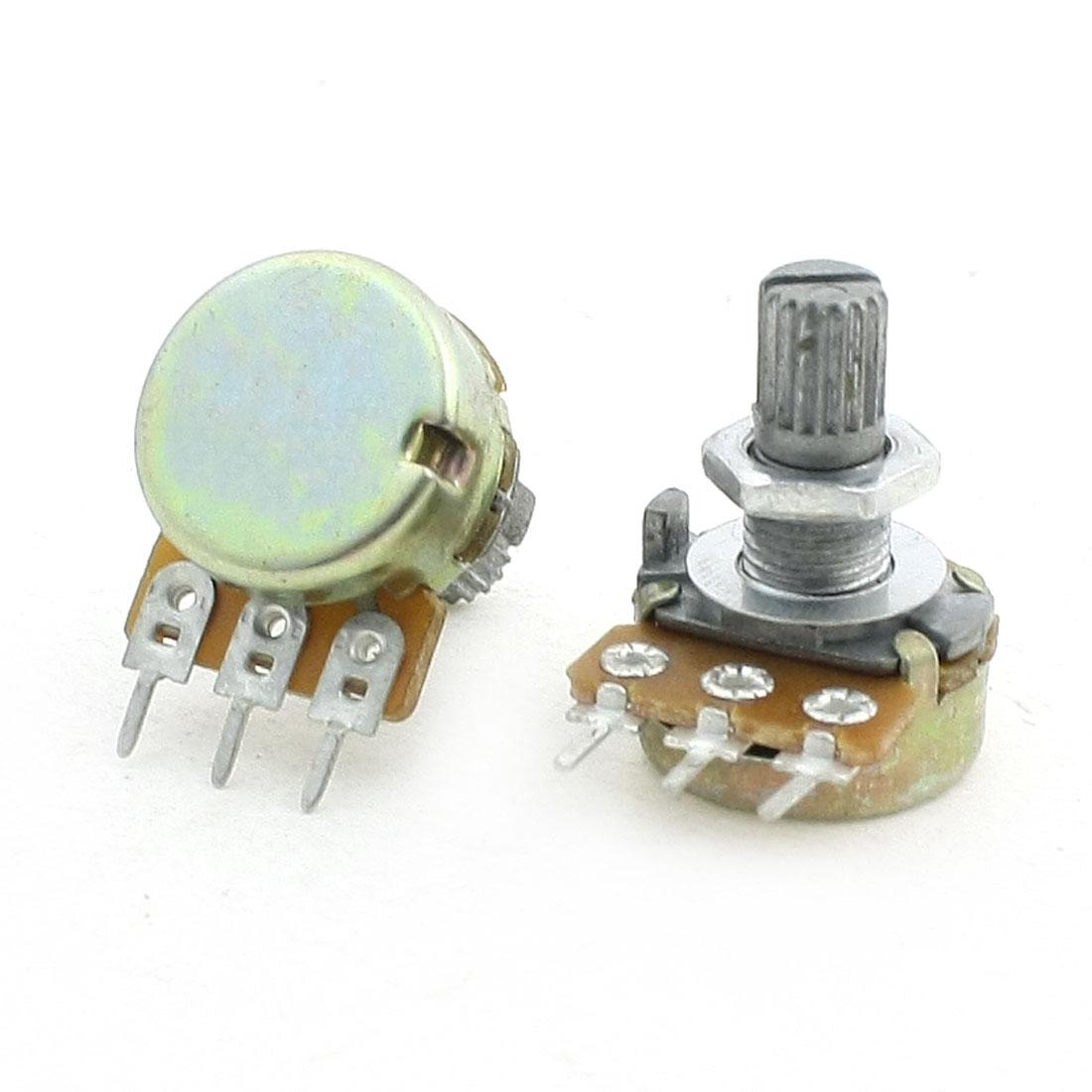 100K Ohm Split Shaft Single Linear Rotary Taper Potentiometers 2Pcs