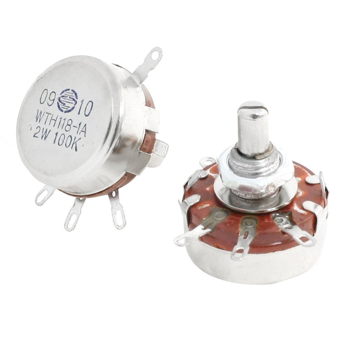 100K Ohm 2W Linear Pot Single Turn Taper Carbon Potentiometer 2 Pcs