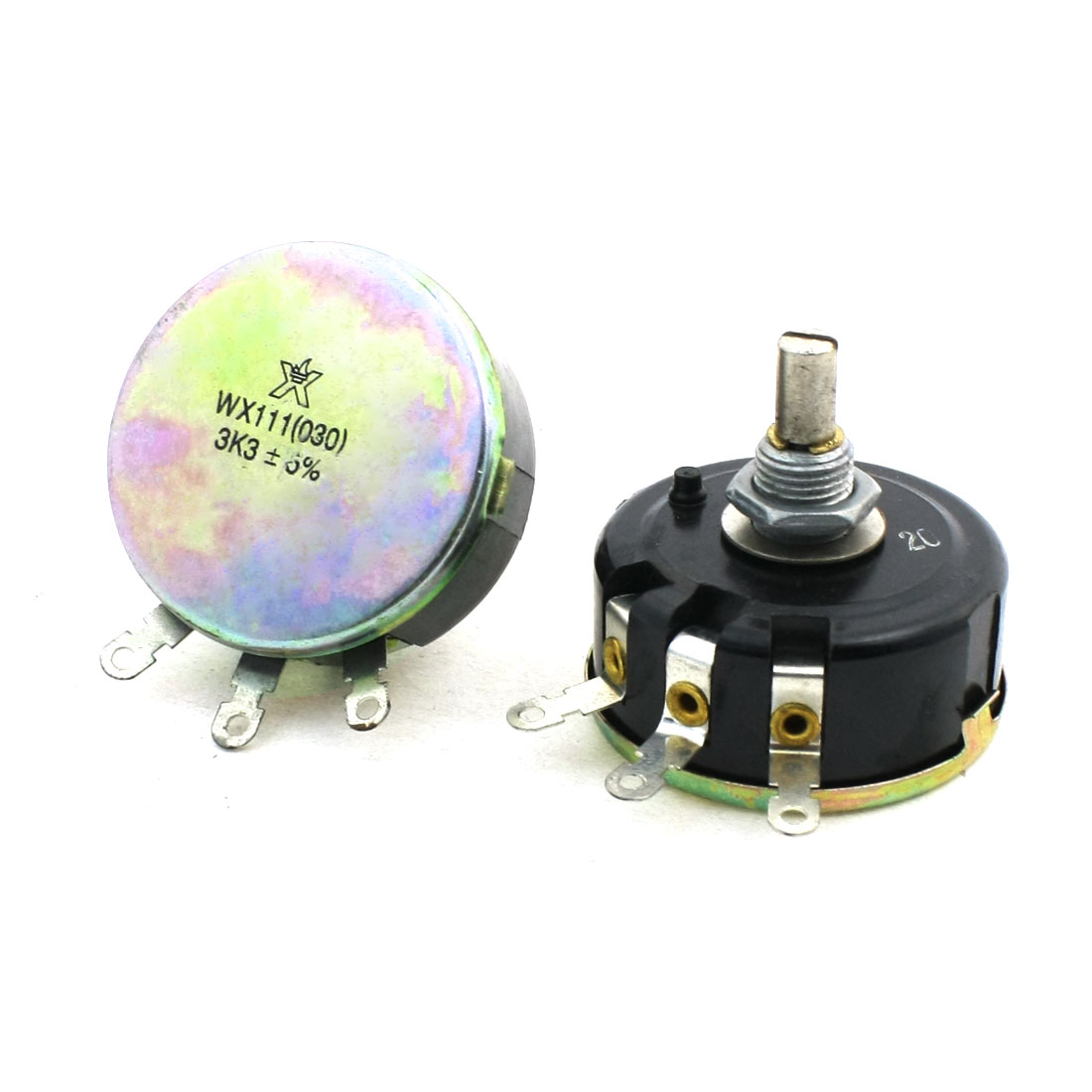 3.3K Ohm Single Turn Carbon Composition Rotary Taper Potentiometer 2Pcs