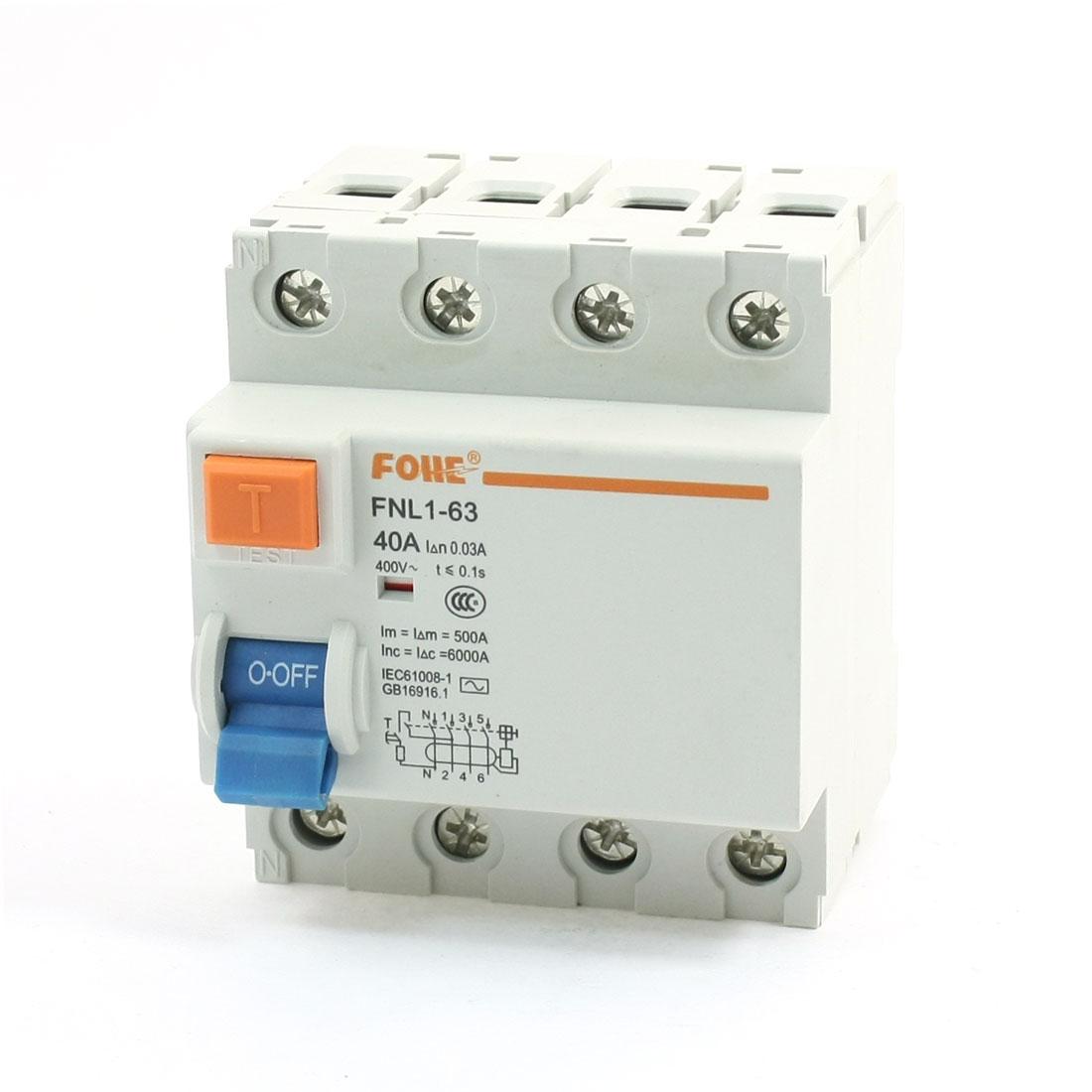 35mm DIN Rail Mount 6000A Overload Circuit Breaker 4 Poles 4P 400V 40A