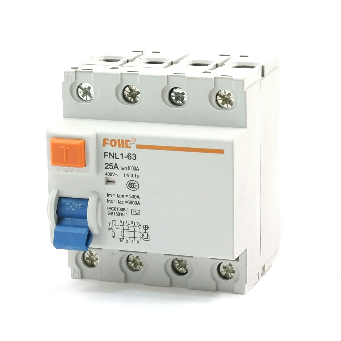 400V 25A 4 Pole Electromagnetic Residual Current Circuit Breaker 6000A
