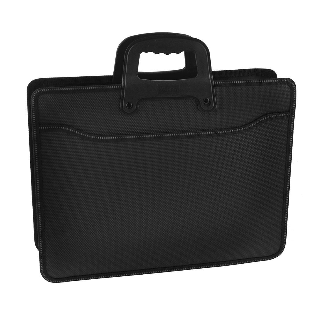 Portable Black 3 Compartments Zipper Closure File Bag Document Holder