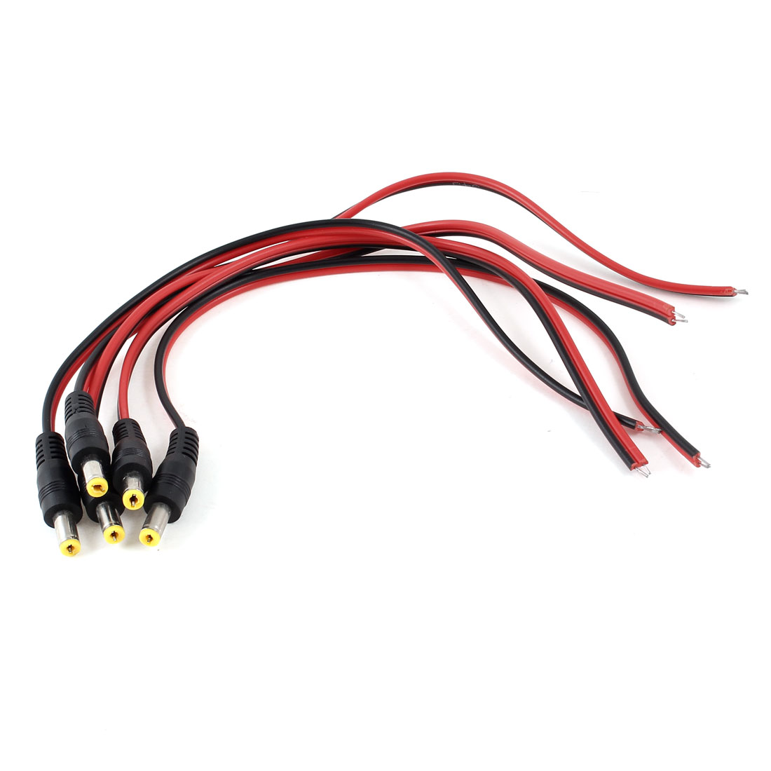 """11.8"""" CCTV Security Camera 5.5x2.1mm DC Male Jack Power Supply Cable 5 Pcs"""