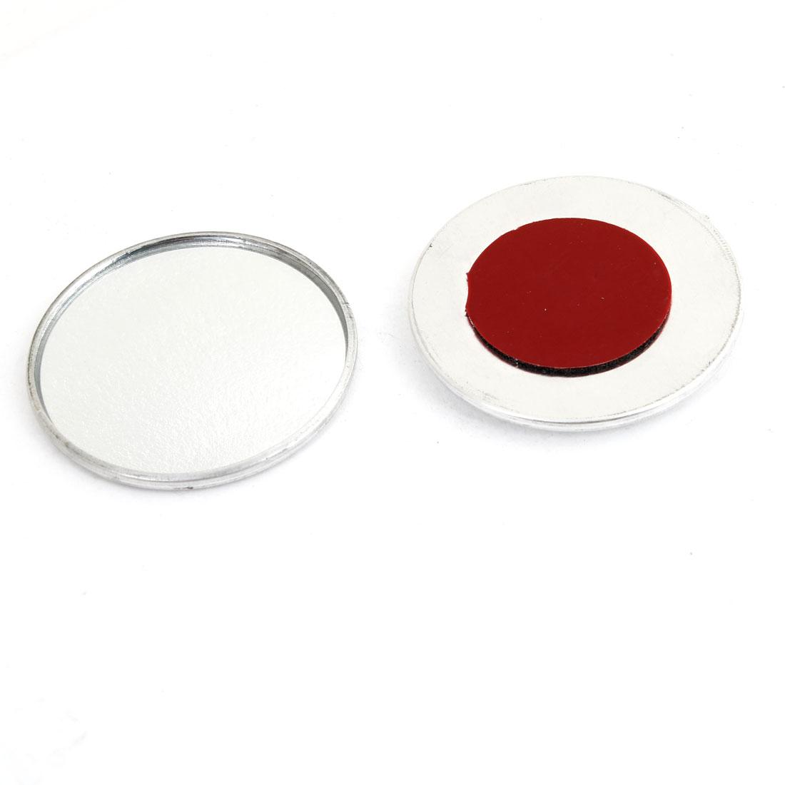 "2Pcs Silver Tone Car Round Convex Wide Angle Blind Spot Rear View Mirror 2"" Dia"