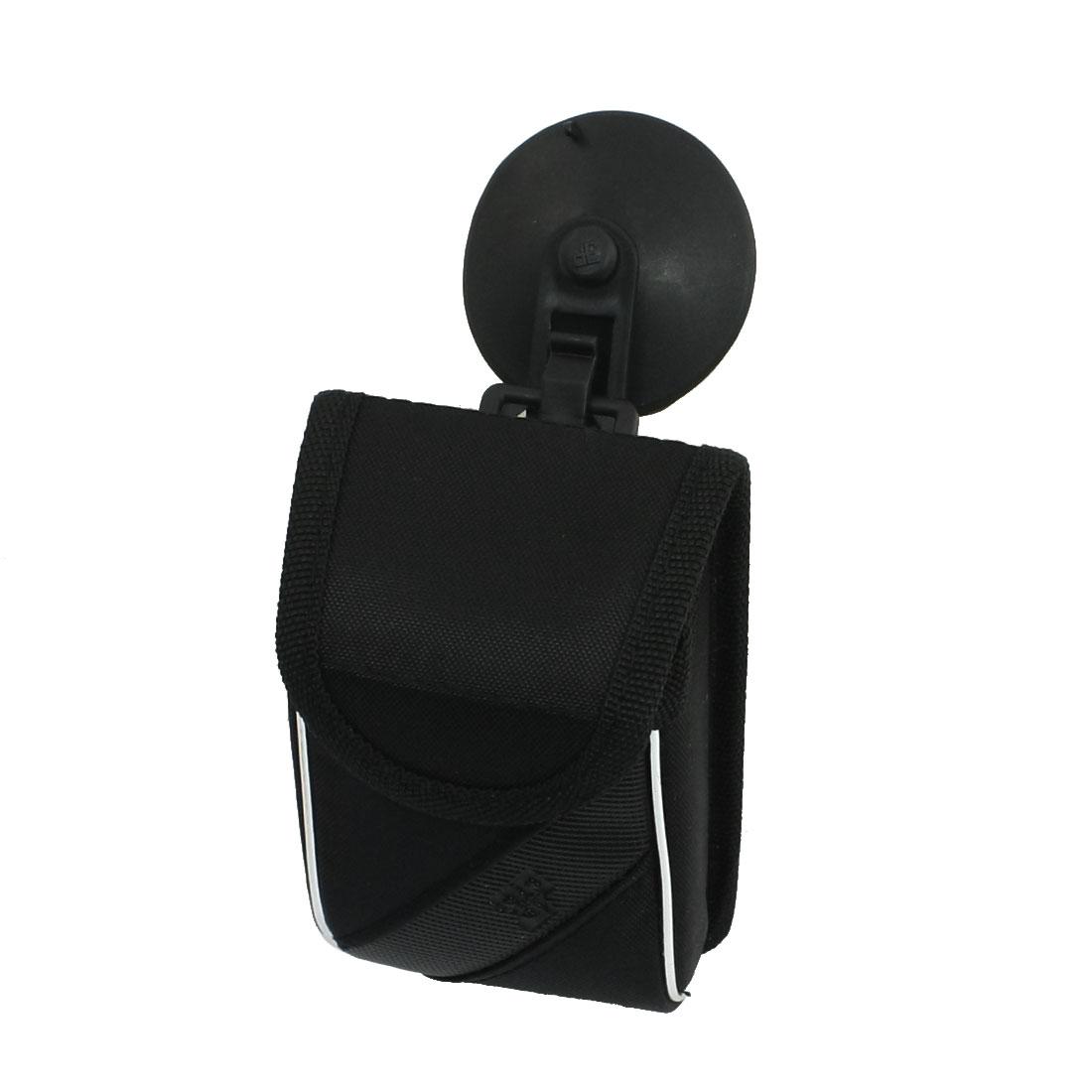 Car Air Vent Mount Black Nylon Phone Pocket Pouch Bag w Sucker