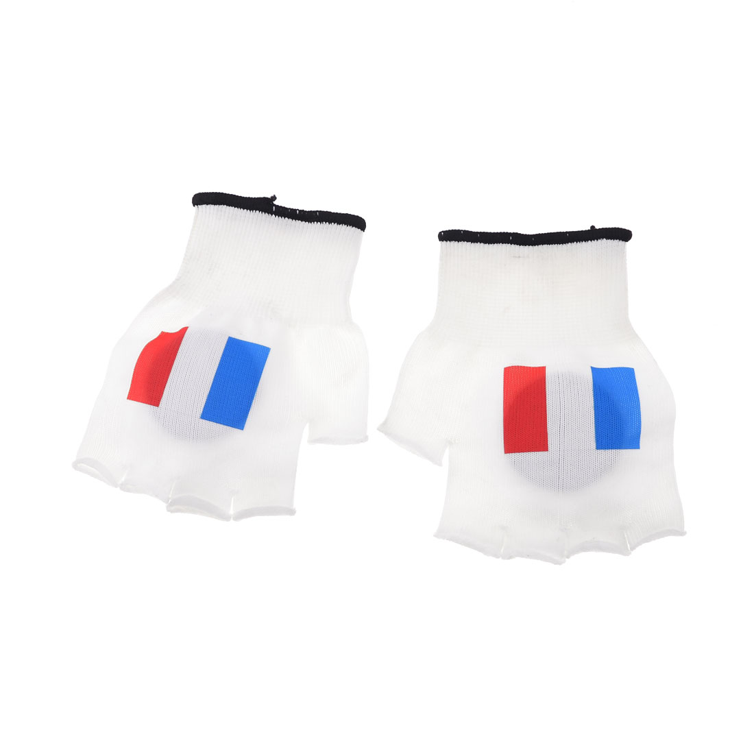 Pair France Flag Pattern White Football Fans Plastic Hand Clapper Gloves