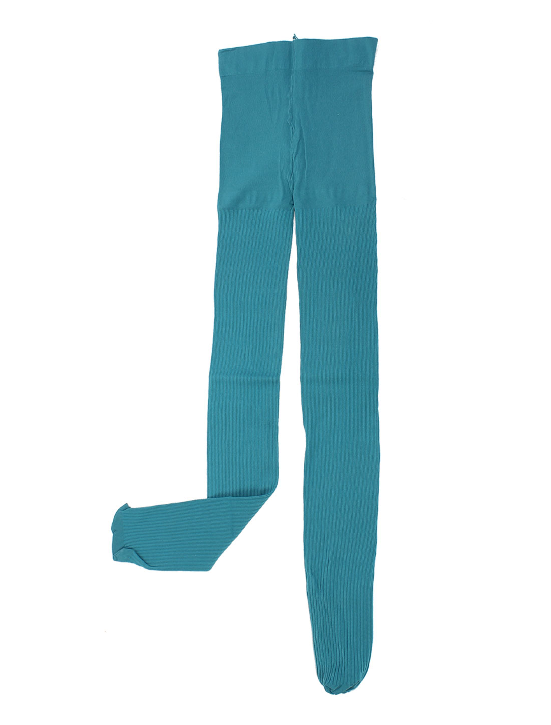 Lady Teal Striped Stretchy Footed Formfitting Stockings Pants Pantyhose XS