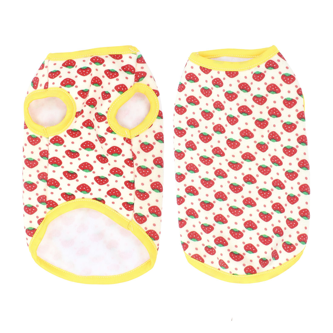Pet Dog Yorkie White Red Strawberry Prints Round Neck Vest Costume Clothes M