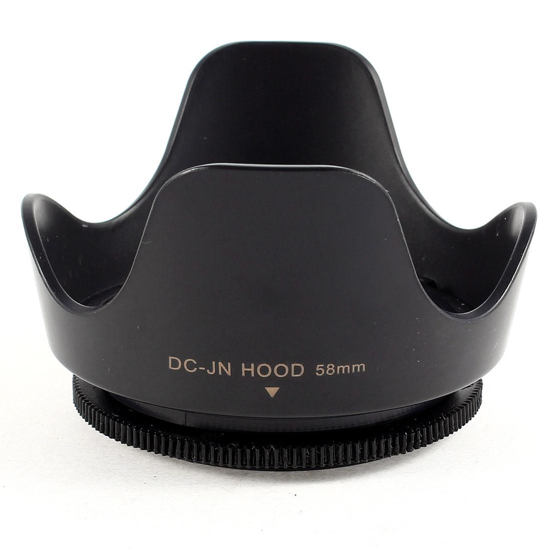 Handy 58mm Screw-in Flower Petal Type Universal Camera Lens Hood Black