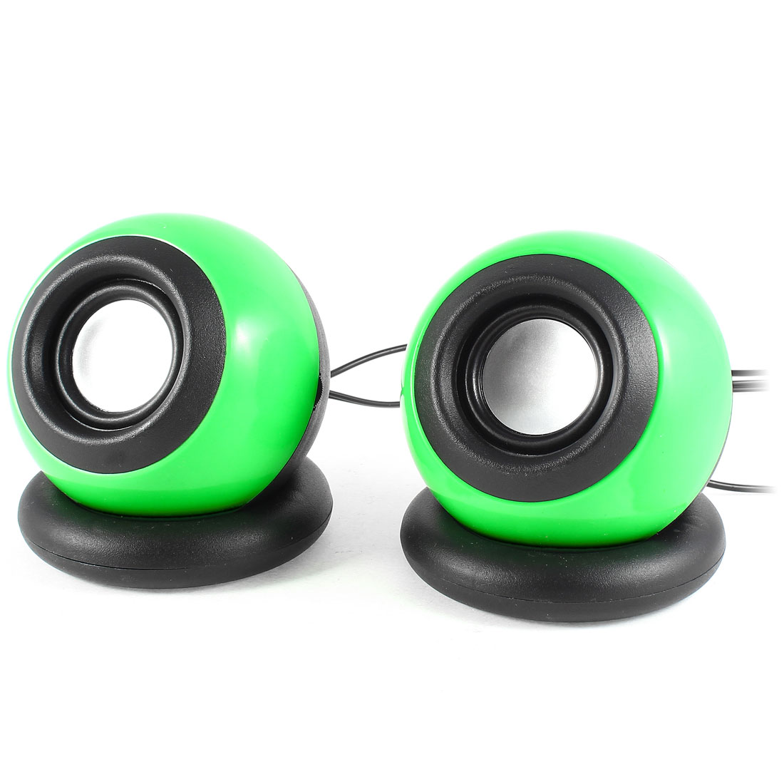 Pair Black Green Plastic USB 2.0 3.5mm Stereo Mini Multimedia Speaker
