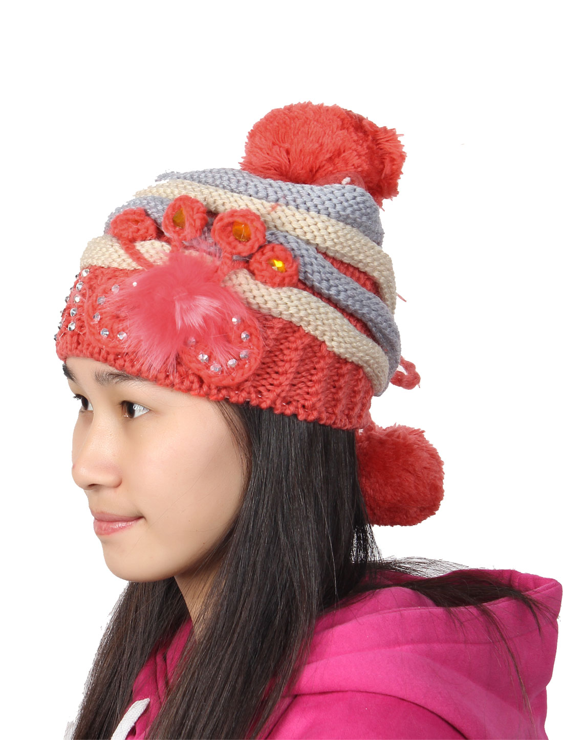 Ladies Faceted Sequins Detail Winter Ribbed Knitted Beanie Hat Cap Red