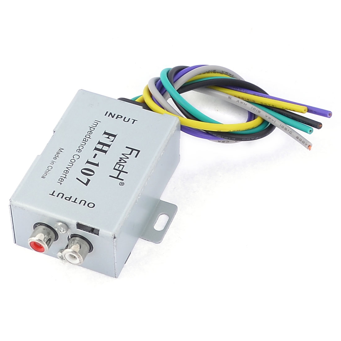 Auto Car Speaker to 2 RCA Line High Low Level Amplifier Converter Gray