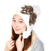 Lady Paillette Decor Pom Pom Top Beanie Knitted Crochet Hat Cap White