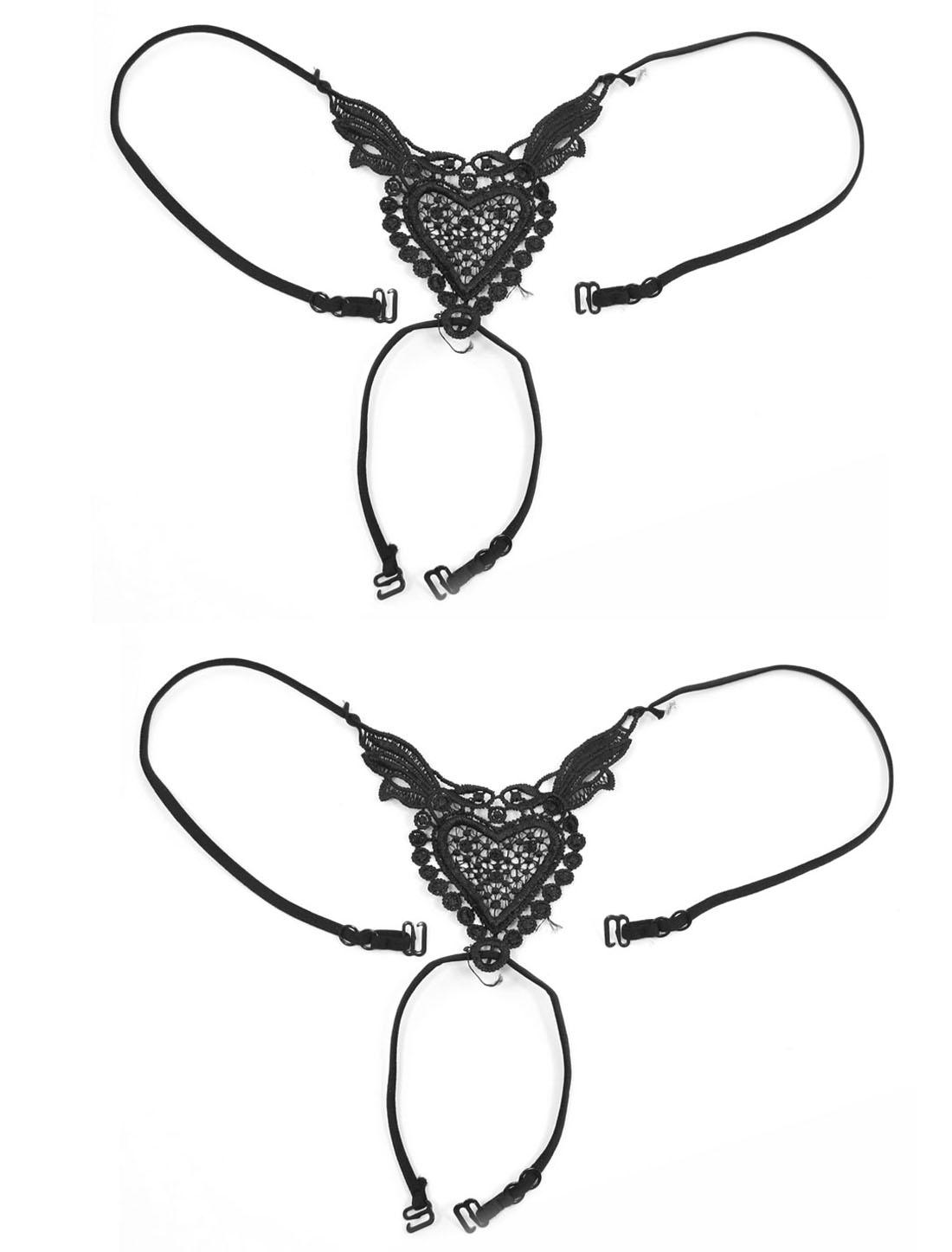 Woman Heart Pattern Adjustable Band Underwear Bra Straps Black 2pcs
