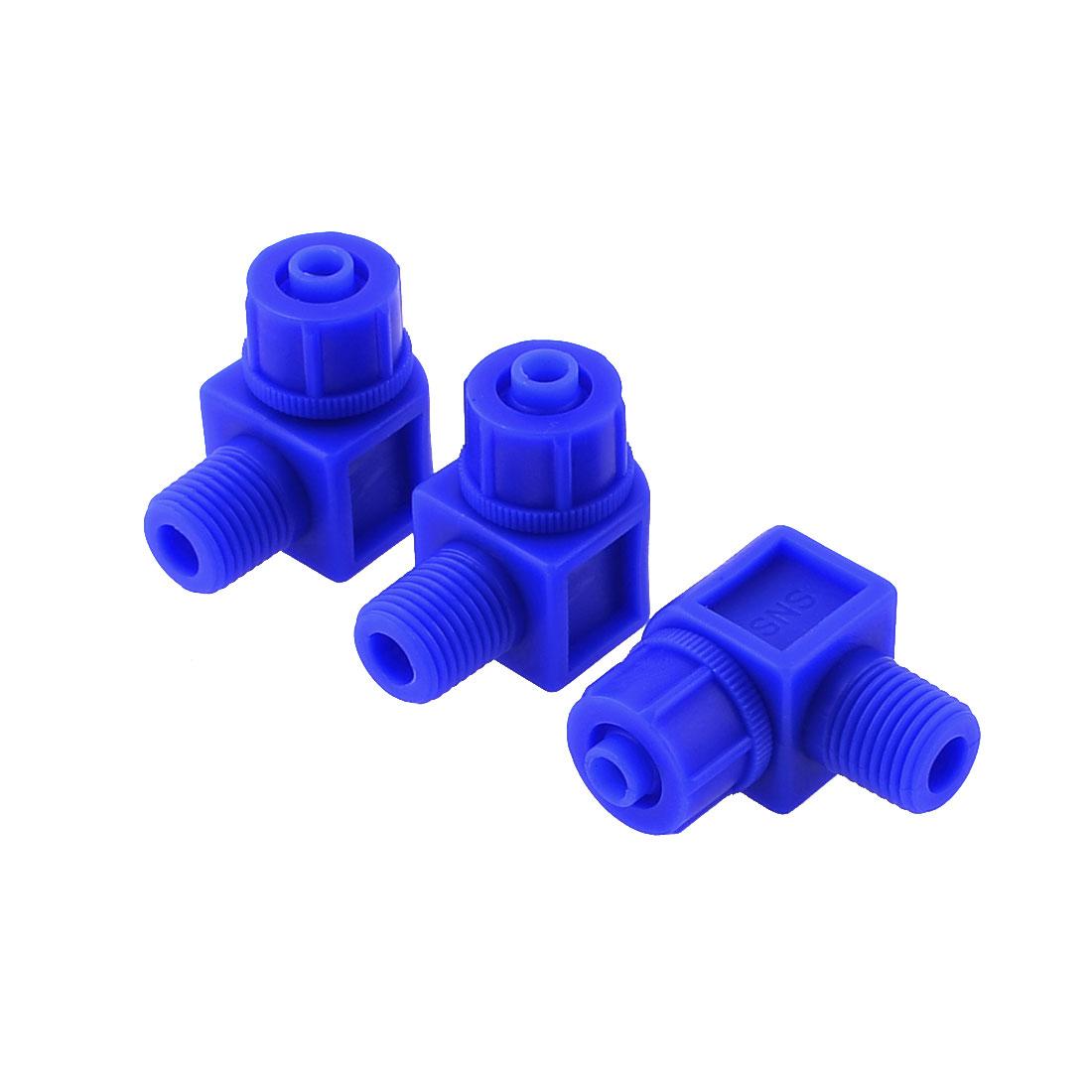 "Pneumatic 1/2"" Thread Diameter Straight Connector Plastic Fitting 3pcs"