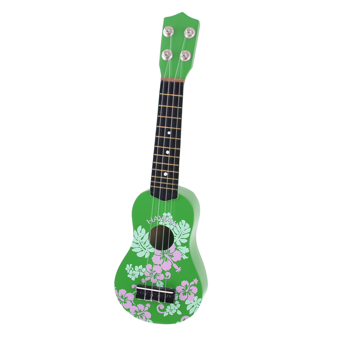 Child 4 Strings Flower Pattern Wood Hawaiii Guitar Ukulele Musical Toy Green