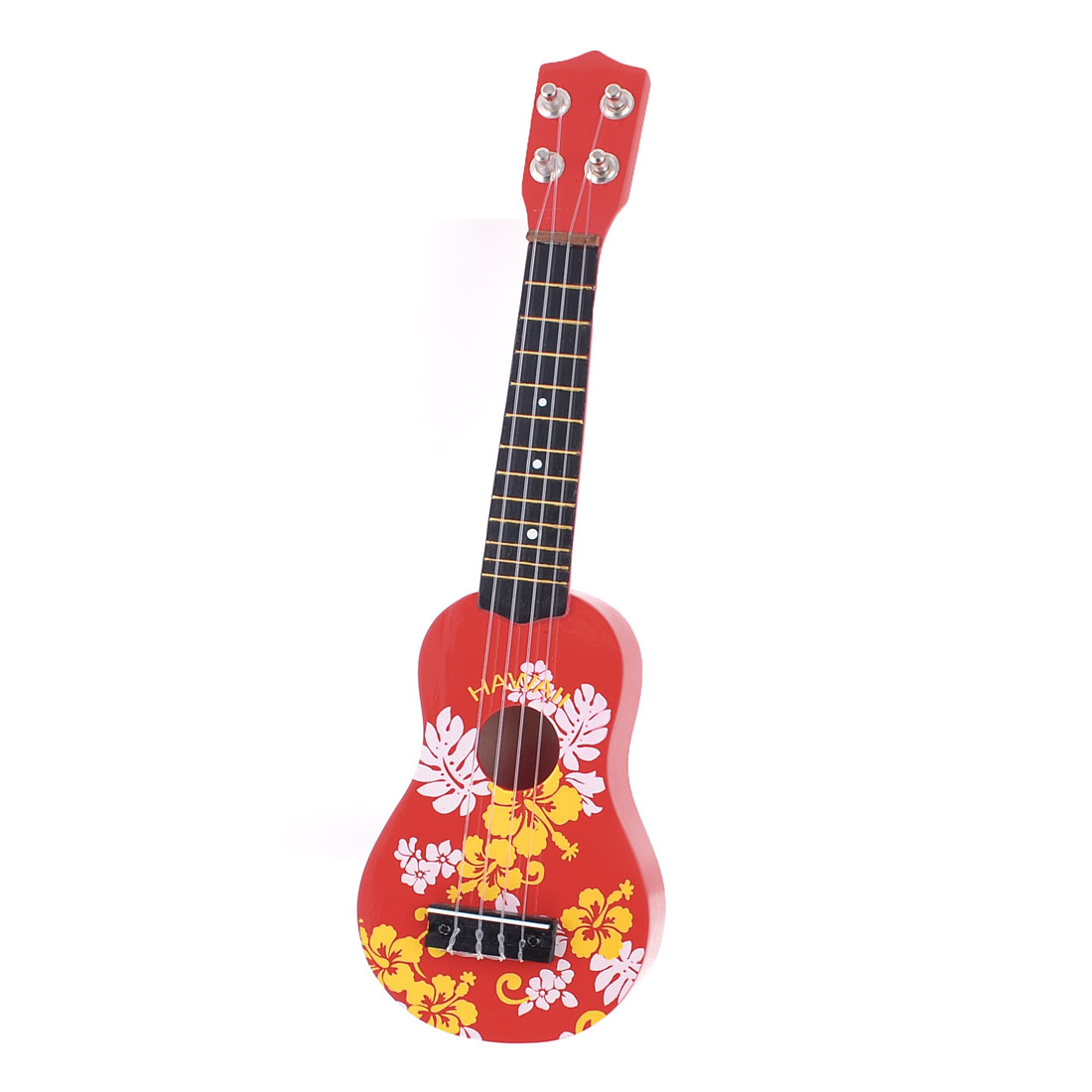 Kids Red Wooden Hollow Body 4 Plastic String Acoustic Guitar Toy