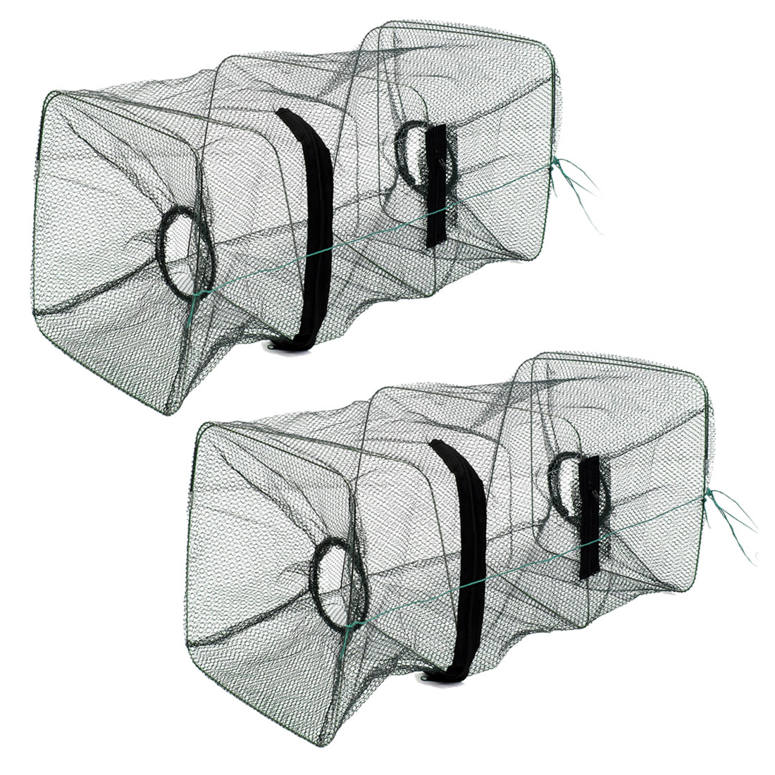 "2 Pcs 17.3"" Height Foldable Nylon Shrimp Crawfish Mesh Net Army Green"