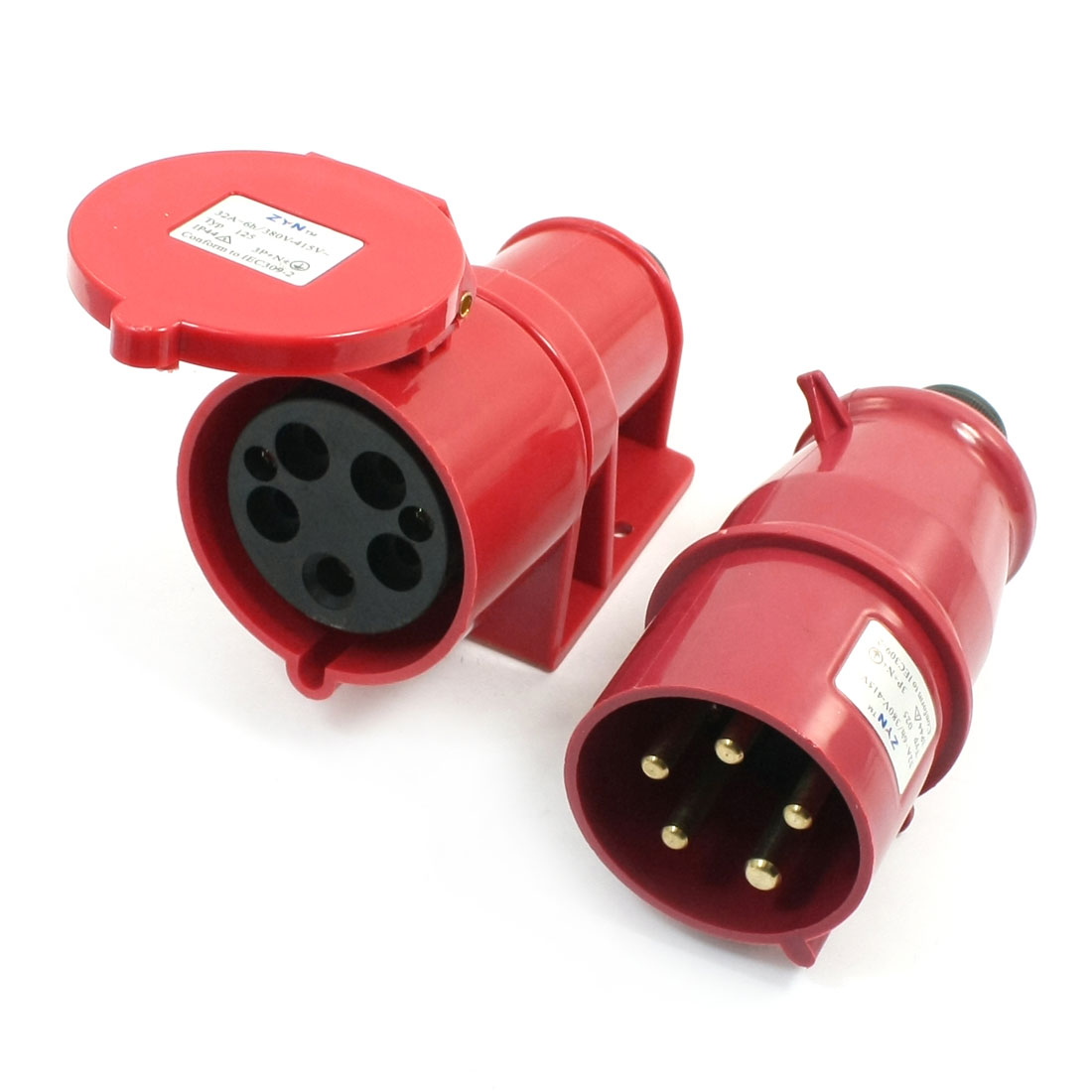 Waterproof IEC309-2 3P+E+N Industrial Connector Socket Red AC 380-415V 32Amp