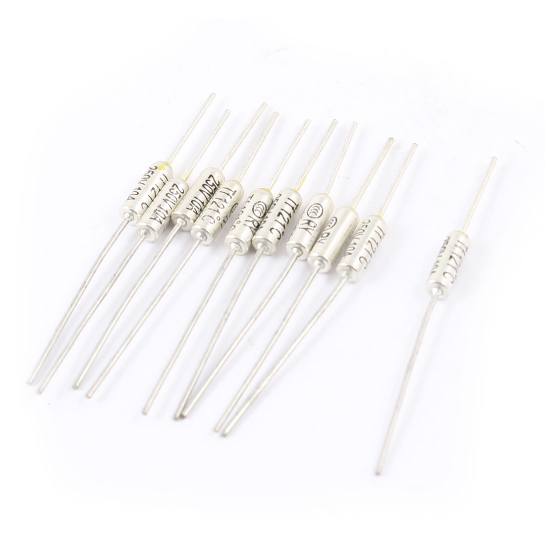 10Pcs Electronic Component Metal Leads 250V 10A 121C TF Thermal Fuse