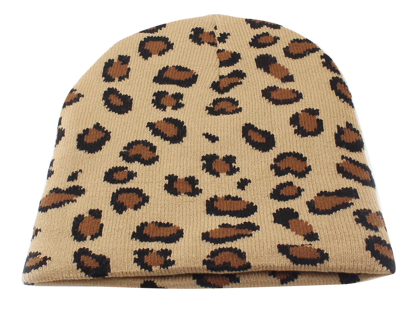 Khaki Leopard Pattern Casual Cap Baggy Beanie Leisure Hat for Women
