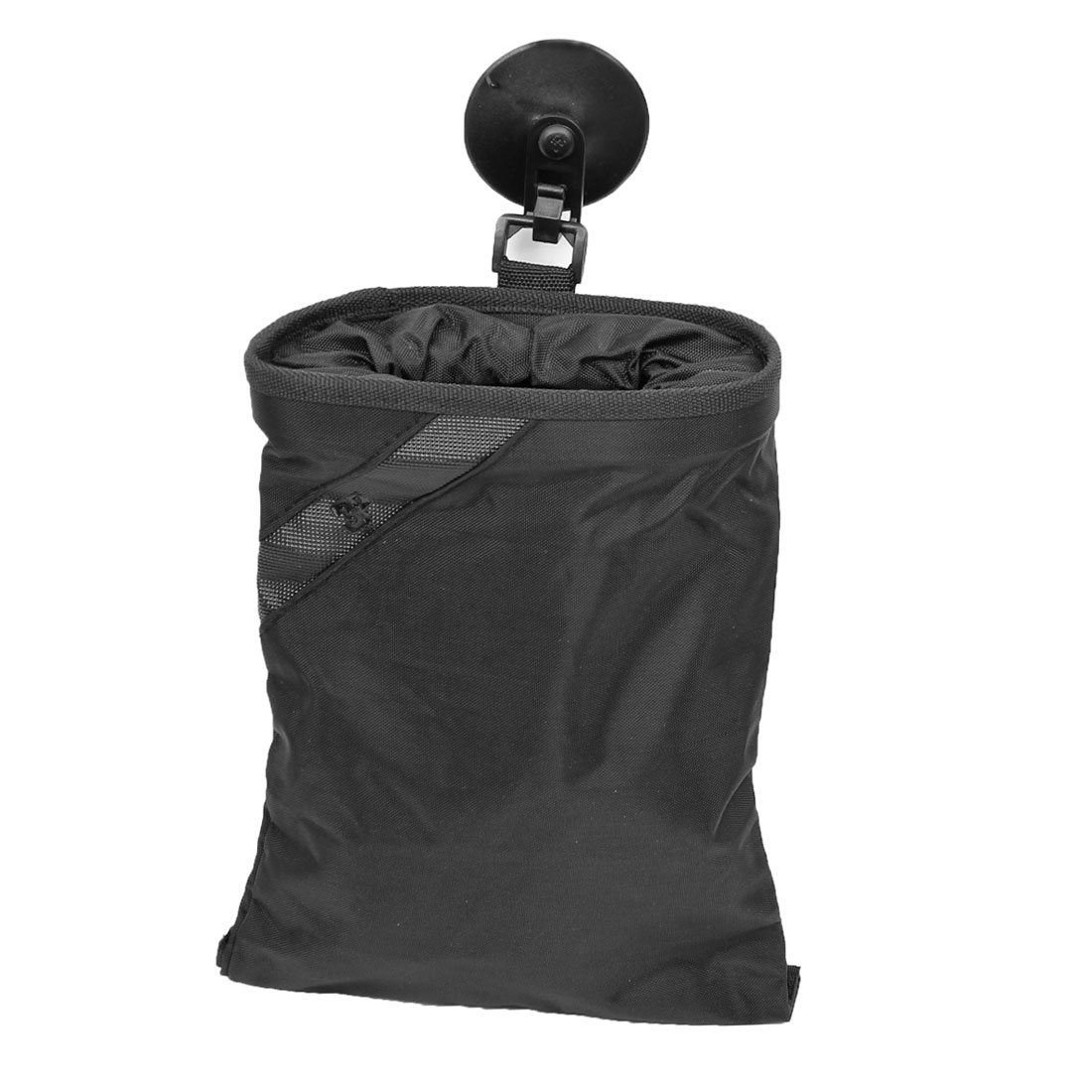 Black Nylon Detachable Closure Trash Bag Holder w Strap for Car Truck