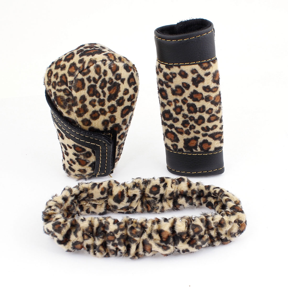 3 Pcs Leopard Print Plush Car Gear Shift Knob Handbrake Mirror Cover Case Brown