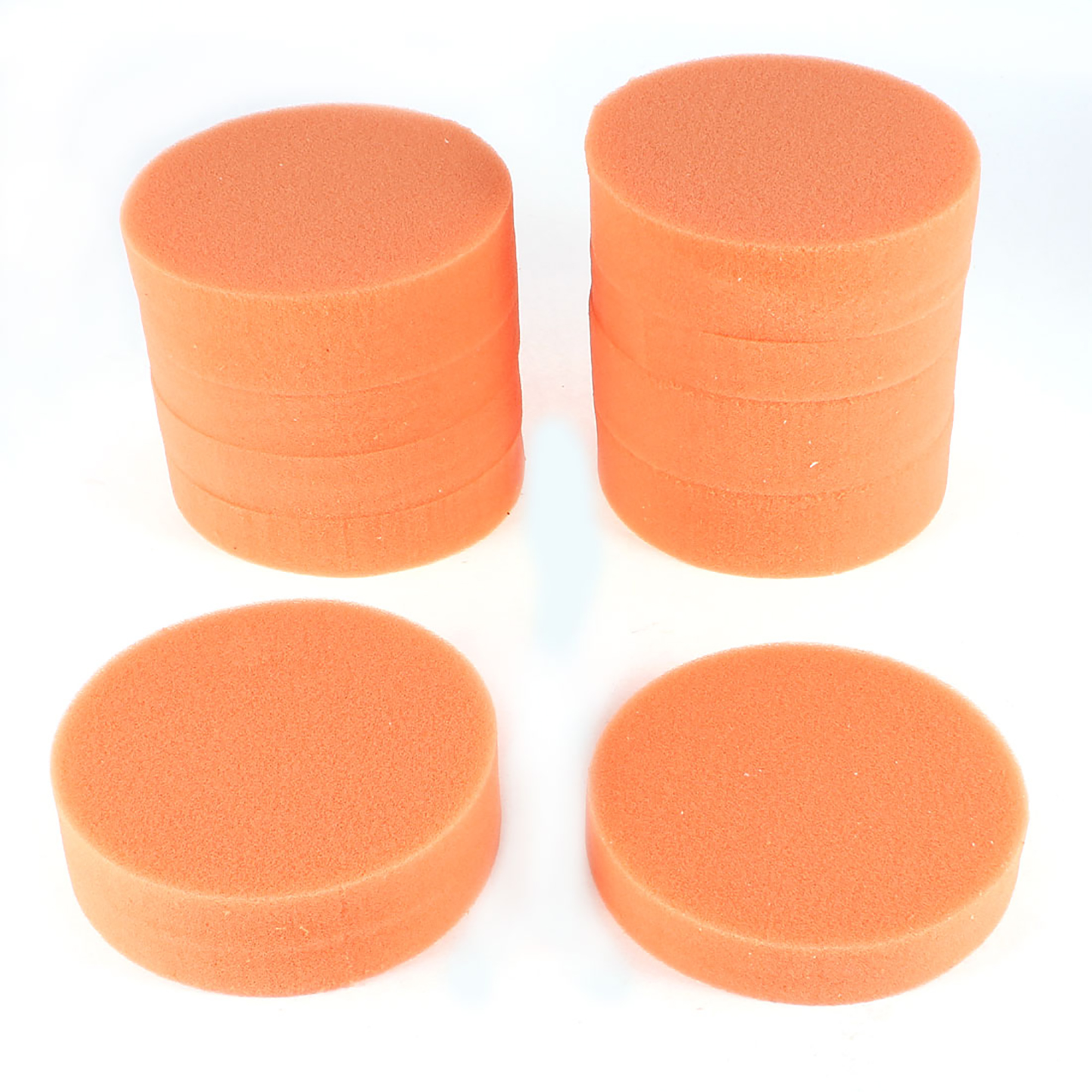 "10 Pcs Home Car Washing Cleaning Waxing 4"" Dia Round Sponge Pads Orange"