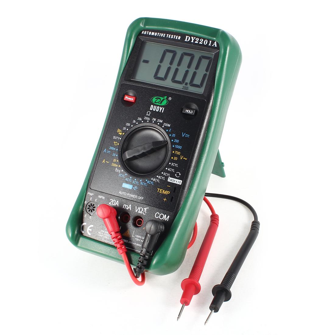 Green Shell DC Voltmeter Ammeter Ohmmeter Digital Automotive Tester Multimeter