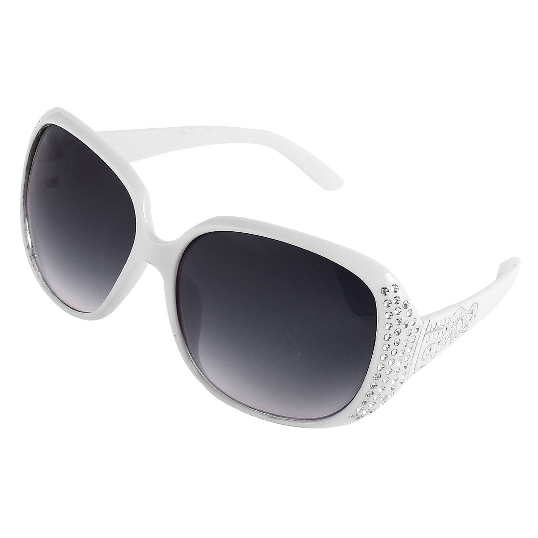 Women Single Bridge Plastic Rhinestone Decor Frame Sunglasses White