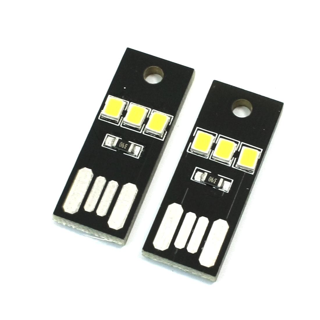 USB Port LED White Light 3LEDs Night Light Single Side Board 2 Pcs