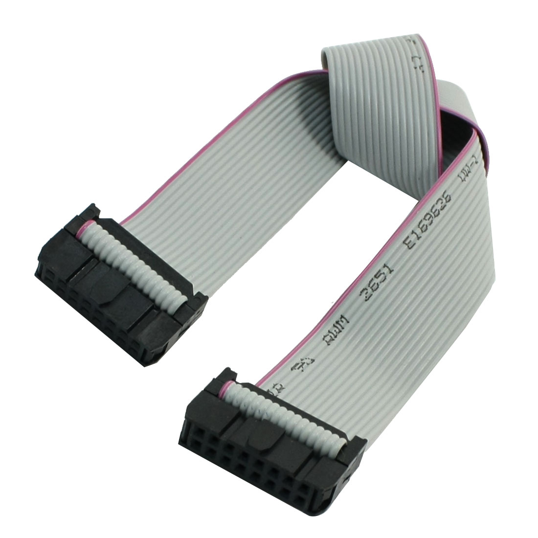 "30cm 11.8"" 2.54mm Pitch 16 Pin Female to Female IDC Ribbon Cable Gray"
