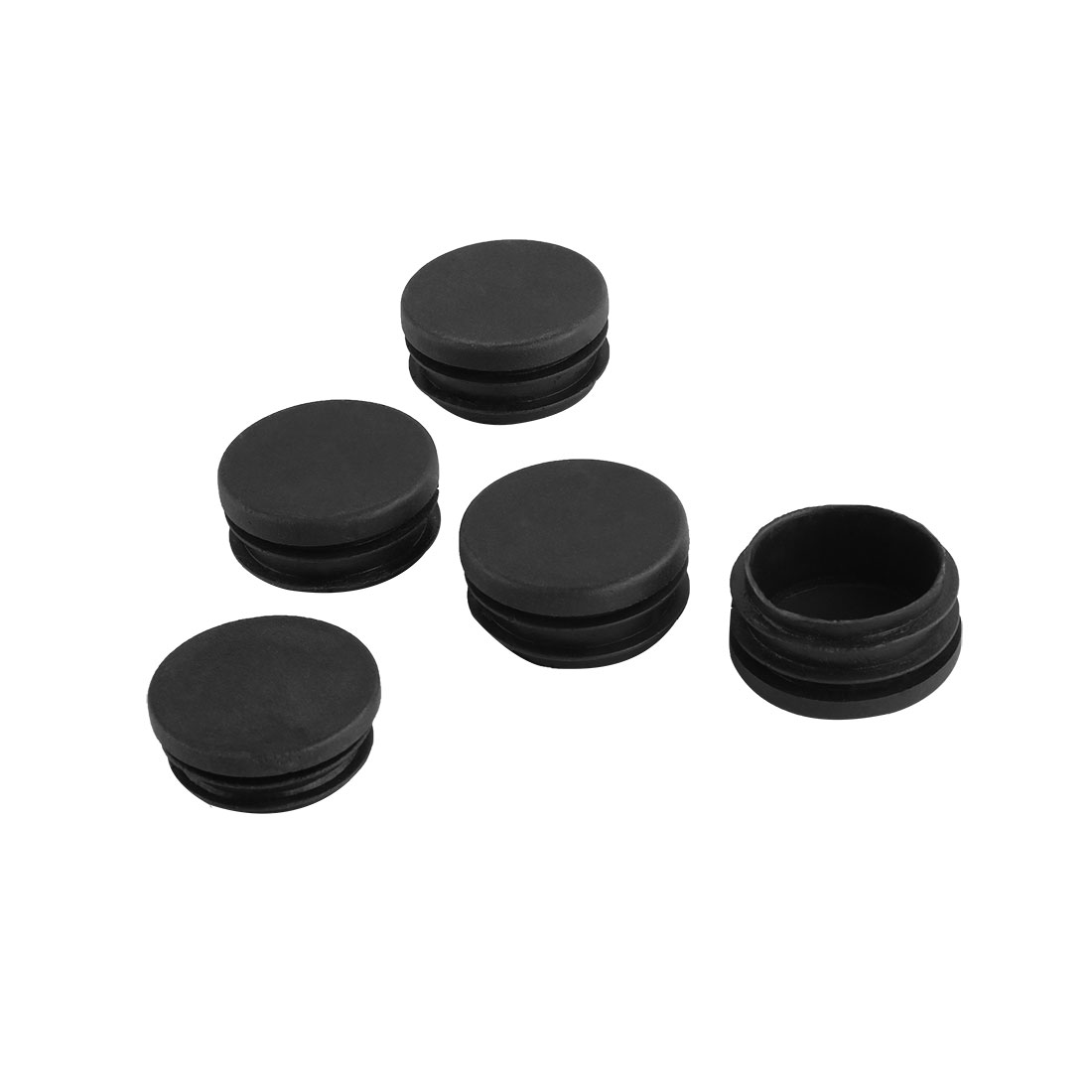 5 x Black Plastic 40mm Dia Round Tubing Tube Insert Caps Covers