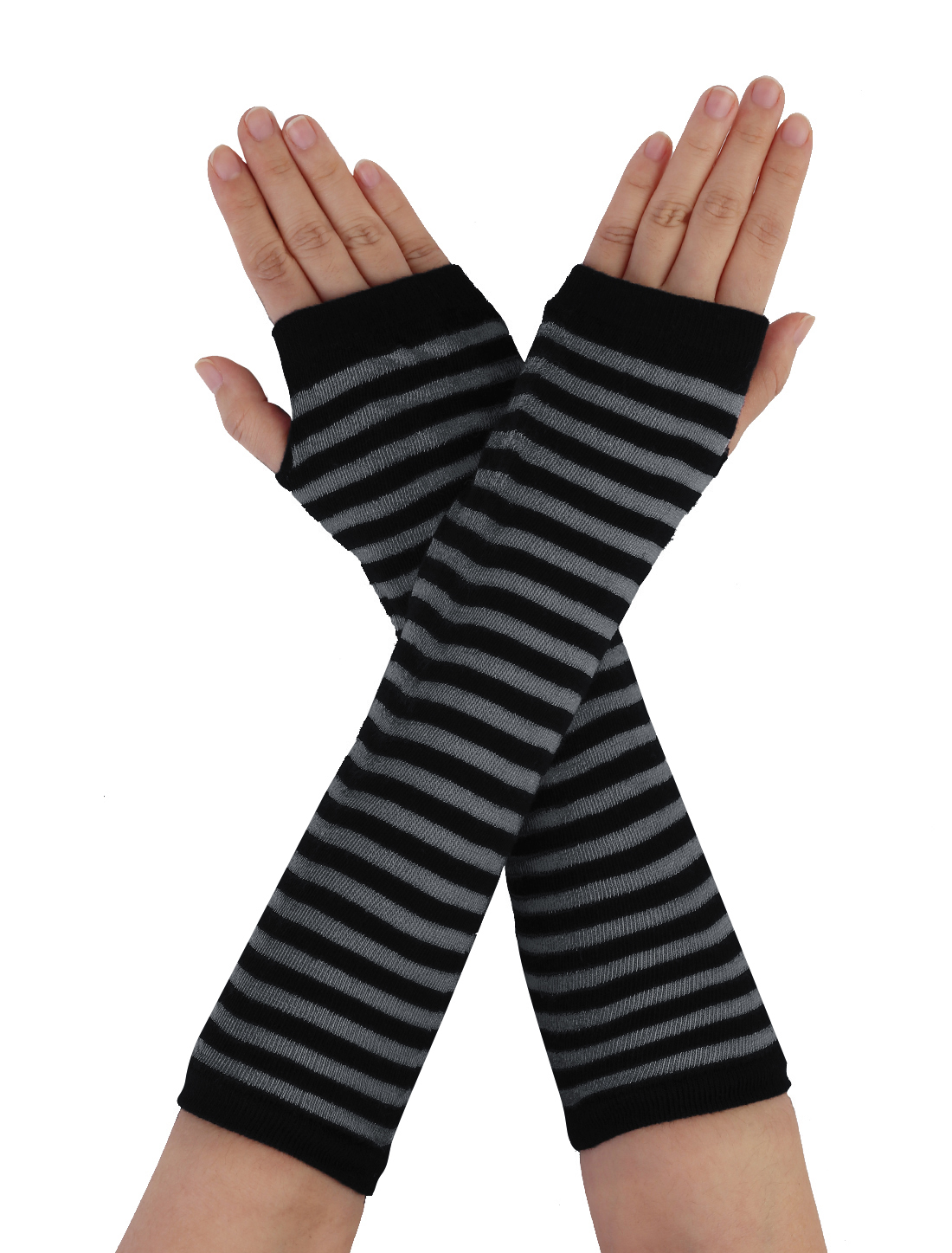 Women Black Gray Stripe Print Knit Fingerless Elbow Length Gloves Warmers Pair