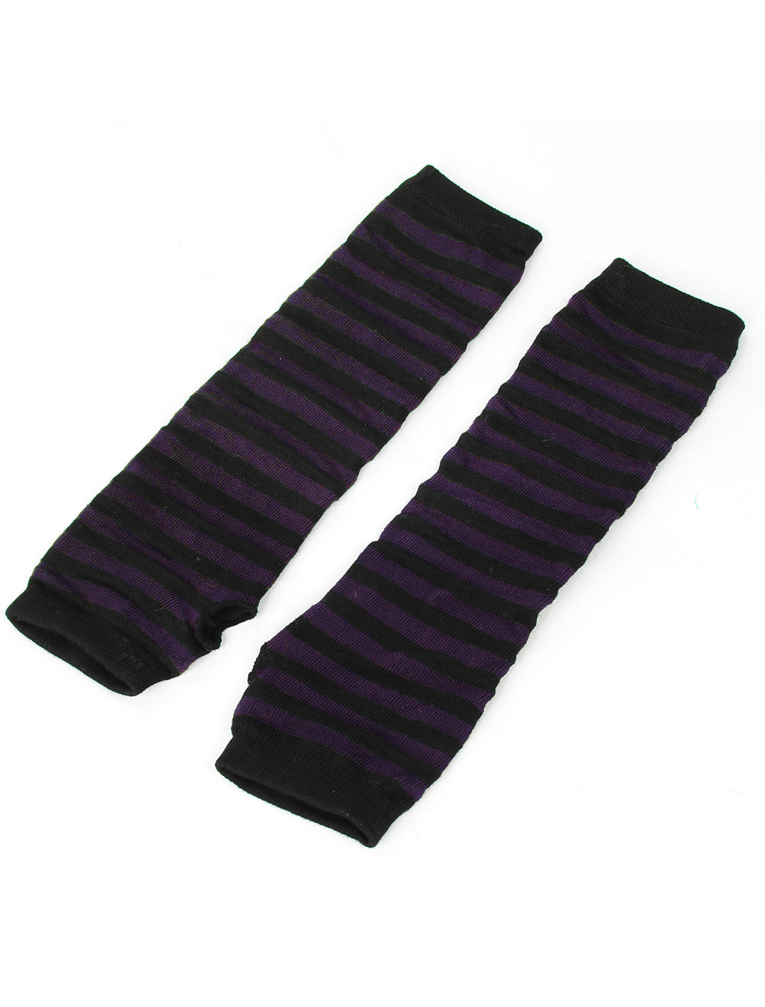 Pair Black Purple Stripe Print Elastic Fingerless Acrylic Elbow Gloves for Woman
