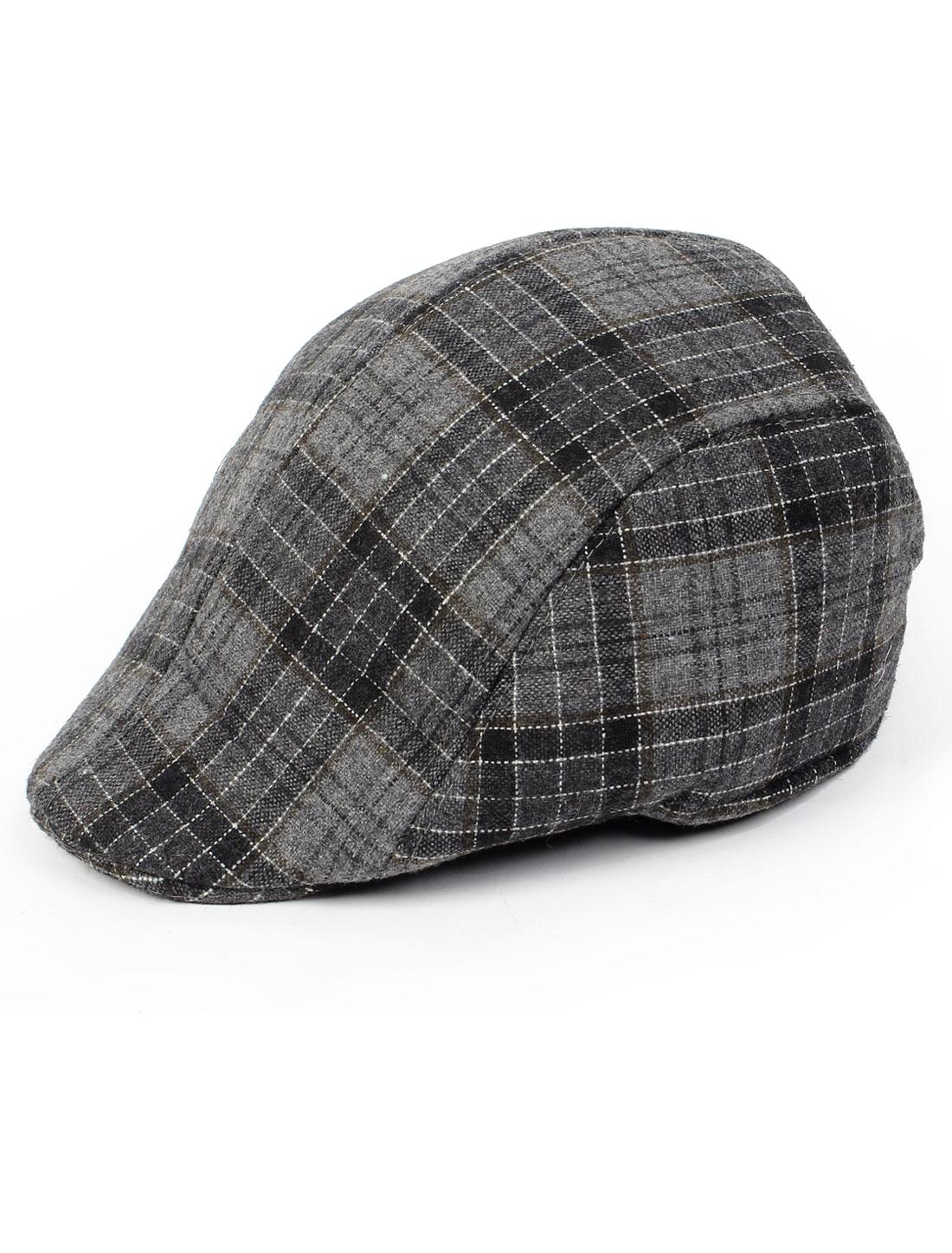 Man Black Gray Square Pattern Visor Cabbie Hat Ascot Flat Cap