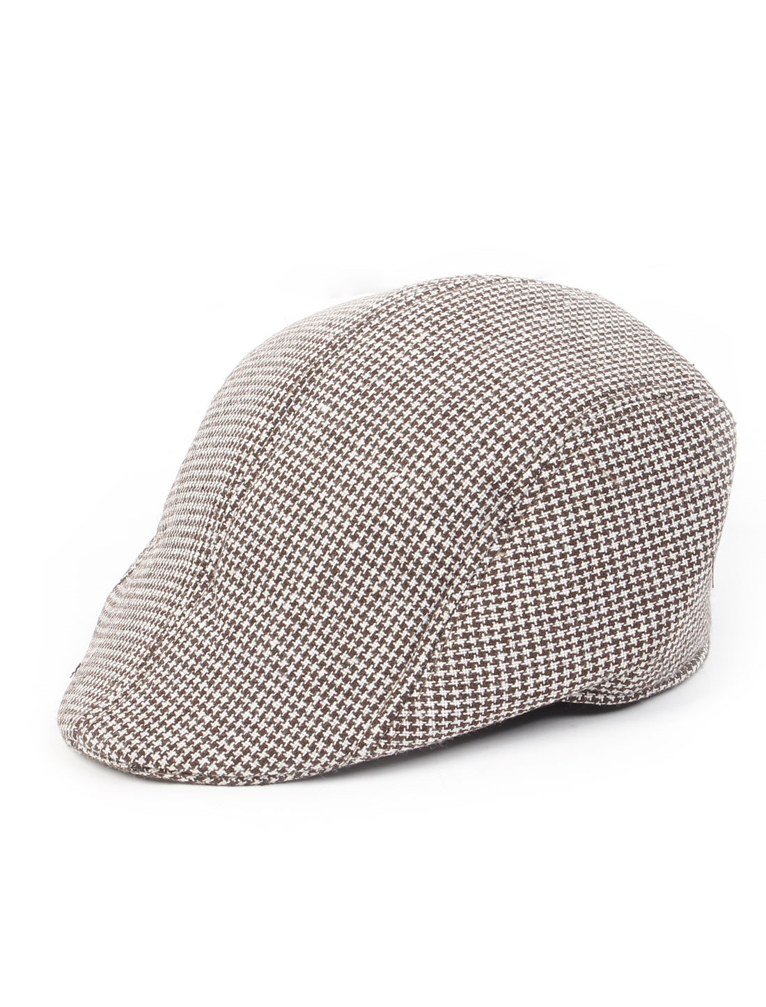 Men Herringbone Pattern Newsboy Hat Ascot Flat Cap Coffee Color White