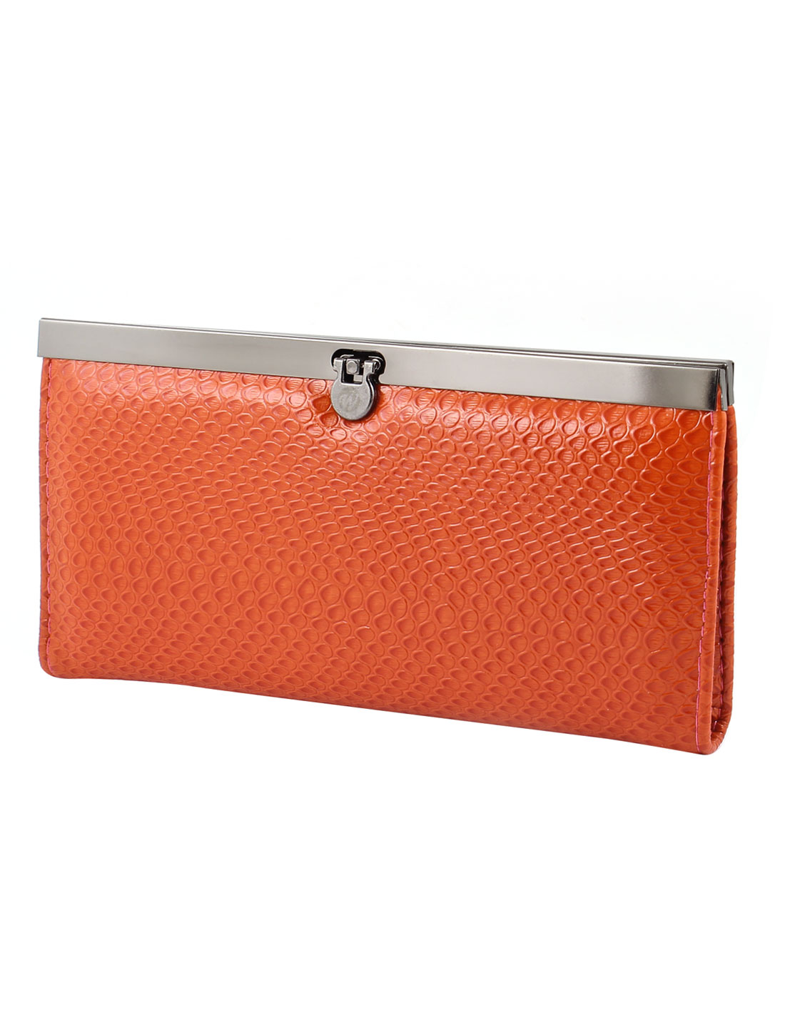 Women 4 Components Flip Lock Closure Coins Money Holder Purse Orange