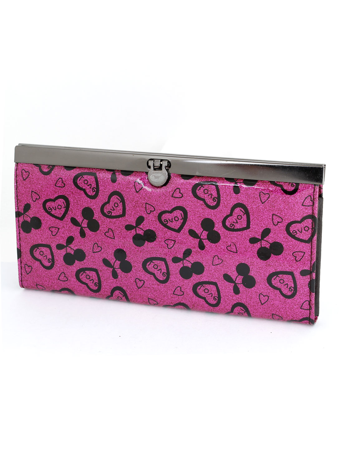 Lady Nylon Lining Fuchsia Hearts Cherry Pattern Flip Lock Wallet Purse