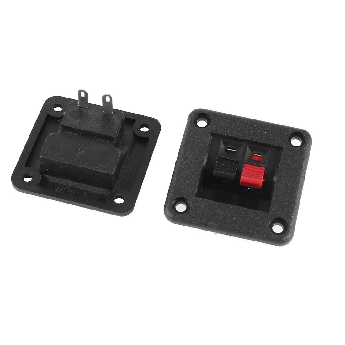 Single Row 2 Position Cable Clip Socket Push Type Speaker Terminals 2 Pcs