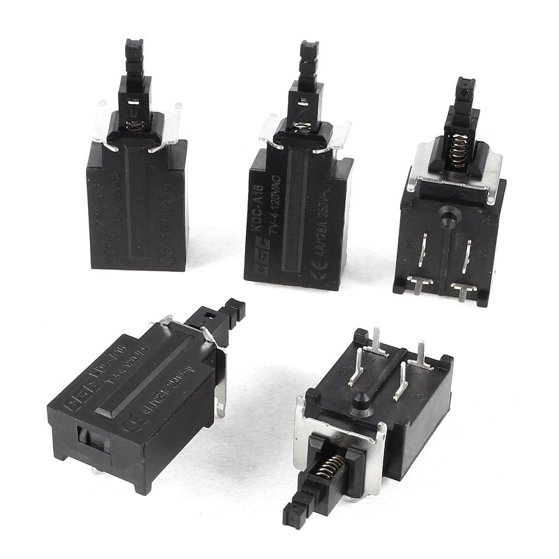 5 Pcs AC 250V 4A 4 Pin 4P SPDT Latching Push Button Power Switch Lock KDC-A16