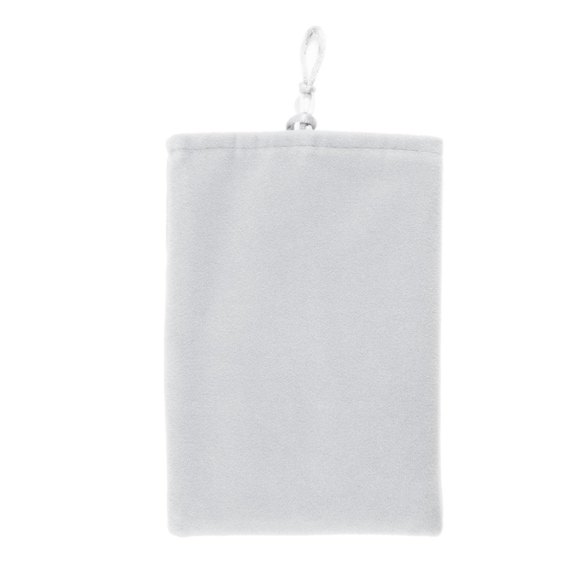 """5"""" Soft Velvet Pouch Sleeve Bag Case Light Gray for Mobile Cell Phone MP4 MP5"""