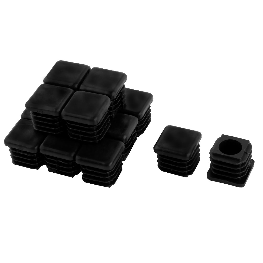 20mm x 20mm Plastic Square Tube Inserts End Blanking Caps Black 15 Pcs