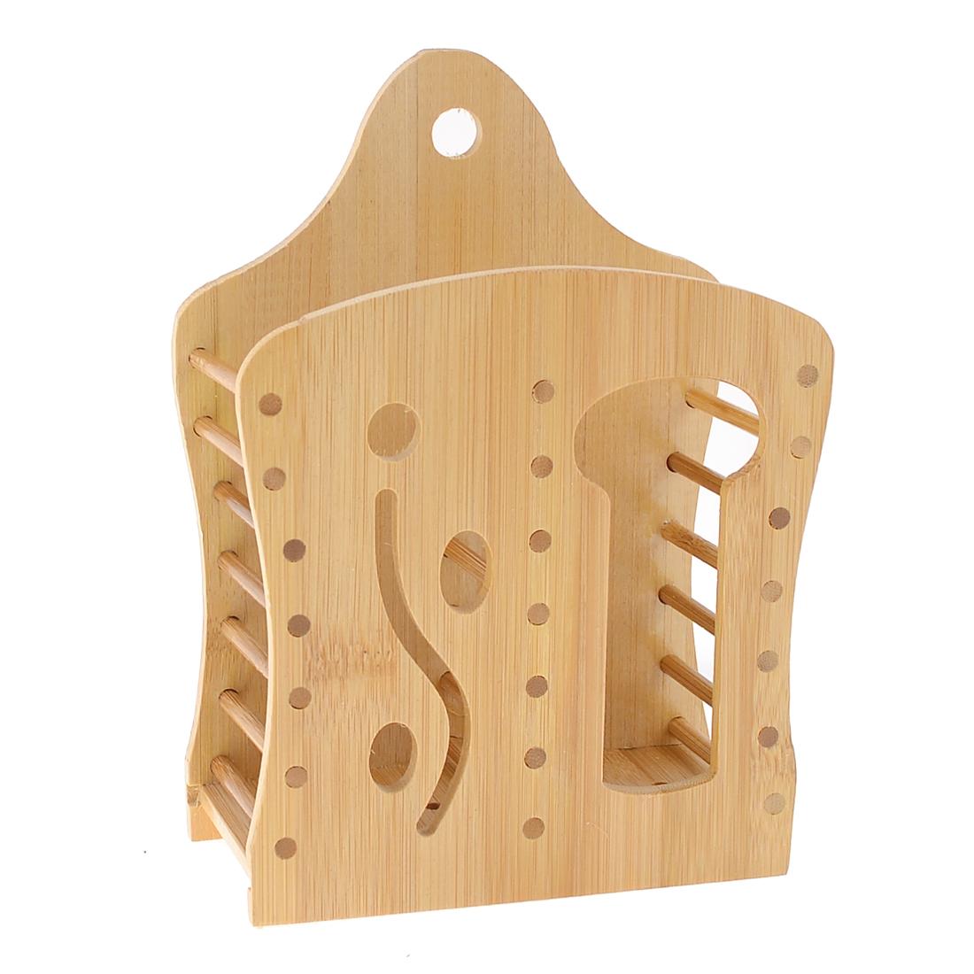 Home Kitchen Wood Color Wooden 2 Compartments Chopsticks Case Organizer