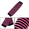 Ladies Stripe Pattern Thumbhole Fingerless Gloves Elbow Warmers Pink Black Pair