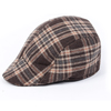 Men Coffee Color Beige Plaids Pattern Cabbie Hat Peaked Ascot Cap