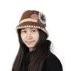 Lady Women Head Decoration Winter Warmer Knitting Hat Beige White