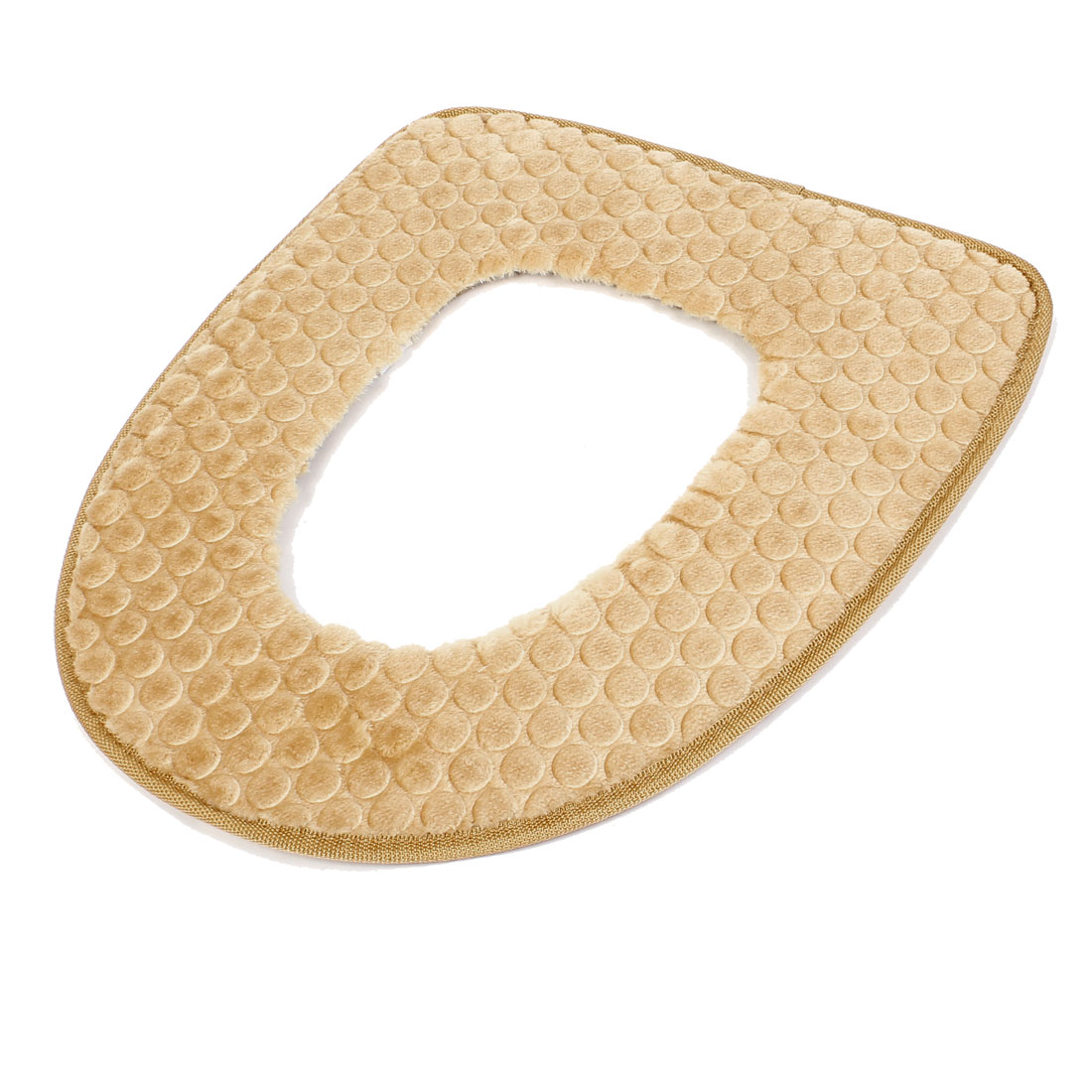 Bathroom Toilet Seat Mat Cover Light Brown Plush Pads Warmer
