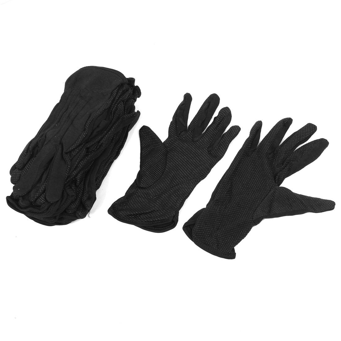 Lady Black Nylon Rubber Full Finger Hand Protect Working Gloves 10 Pair